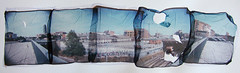 Urban landscape (Cea tecea) Tags: barcelona panorama polaroid holga lift topv1111 88 holgaroid emulsion emulsionlift displayedinstant100best
