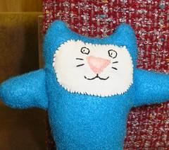 Funny kitty (Rhelynn) Tags: blue baby animal cat mos toy toys stuffed funny doll handmade sewing crafts kitty craft mini softie plushie handsewn etsy crafting imadeitmyself stuffie knitowl