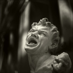 Screaming Marble Head (T. Scott Carlisle) Tags: bw art film museum statues hasselblad marble toned tmax100 tsc xtol metroplitan tphotographic tphotographiccom tscarlisle tscottcarlisle