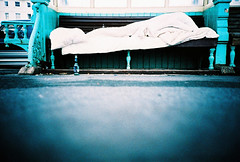bed (lomokev) Tags: street blue bed lomo lca xpro lomography crossprocessed xprocess brighton low homeless ground lomolca pillow seafront shelter agfa jessops100asaslidefilm agfaprecisa duvet lomograph agfaprecisa100 cruzando precisa ratseyeview jessopsslidefilm file:name=lomo0506c51