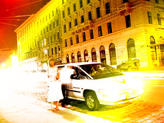 Night Walk (CoolMcFlash) Tags: vienna wien auto street light boy sterreich colors girl car night photoshop wow photography austria exposure fotografie nacht surreal effect effekt nachtaufnahme langzeitbelichtung canonixus750 nachtaufnahmen strase stadtgetty2010
