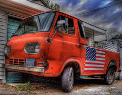 flag day in hdr (Kris Kros) Tags: california ca red usa ford public cali america photoshop truck photography la us losangeles interestingness high cool interesting pix dynamic cs2 americanflag pickup ps socal american kris range hdr jjj flagday kkg econoline 3xp intresting photomatix pscs2 kros kriskros interestingness16 kk2k kkgallery