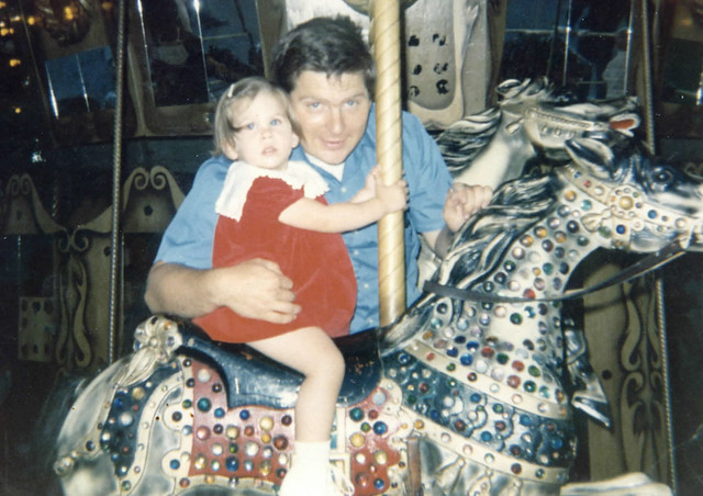 Dad and I on carousel horse - 1973