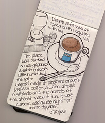 Tosca al fresco... (renmeleon) Tags: art moleskine coffee sketch journal reporter ria renmeleon renfolio