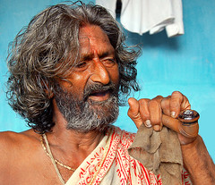 (Divs Sejpal) Tags: life people india face hair happy 500v20f smoke religion smoking sadhu theface abigfave bsbsmoke