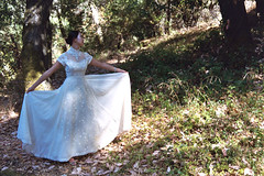 Mother's Wedding Dress 7 (quixrotic) Tags: trees wedding summer portrait white love girl beautiful grass leaves sunshine forest dress gorgeous haunting