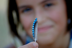 THE BLUE FEATHER (.Luca - Italy) Tags: blue bird topv111 hand bokeh finger feather azzurro penna dita uccello piuma apair topvaa 99wordstender