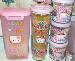 Hello Kitty Kitchen Canisters (pkoceres) Tags: pink flower kitchen japan fruit rainbow strawberry rice hellokitty pasta sugar sanrio container flour canister      boughtonebay  hellokittystrawberry hellokittyfruit hellokittyflower