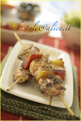 fowl - Grilled Chicken Kebabs [on green tablec...