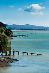 bay (dsalakhov) Tags: sea newzealand summer seascape water bay boat auckland boardwalk pontoon herne hernebay