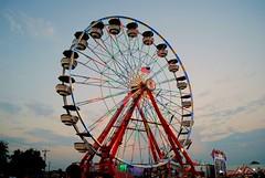 Ferris Wheel at the Walworth County Fair (Cragin Spring) Tags: summer usa wisconsin circle lights midwest unitedstates dusk unitedstatesofamerica ferriswheel rides wi elkhorn 2015 northernwisconsin walworthcountyfair elkhornwi walworthcounty elkhornwisconsin