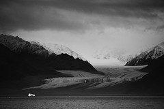 High Arctic Glacier Sirmilik National Park Bylot Island Nunavut Canada (In Memoriam Ngaire Hart) Tags: travel sea snow canada mountains cold rock landscape photography blackwhite cloudy overcast stormy inuit remote iceberg geology peaks nunavut moraine austere mountainous pondinlet bylotisland erring canadianarctic higharctic sirmiliknationalpark sirmilikglacier ngairelawson ngairehart
