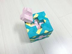 Cross menger sponge puzzle (hyunrang) Tags: origami cross puzzle fractal sponge mengersponge hur menger paperstrip