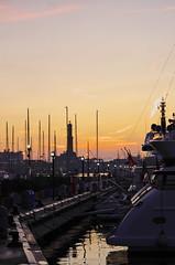 IMG22368 (fabrizio.binello) Tags: sunset lighthouse boats boat barca tramonto barche genoa genova lanterna
