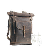 Dark brown leather backpack. Rool-top backpack (Sergey Kutsenko) Tags: leather handmade ukraine backpack bags ua brownleather mukachevo leatherbackpack brownbackpack innesbags kudryart