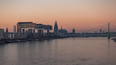 Winter evening by the Rhine (lars_uhlig) Tags: 2016 city cologne deutschland germany köln rheinland stadt winter evening abend abendrot sonnenuntergang sunset river fluss rhein rhine dom cathedral kranhäuser brücke bridge