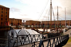 Albert Dock (rustyruth1959) Tags: nikon nikond3200 tamron16300mm merseyside liverpool albertdock docks outdoor water boats fence railings buildings structure columns walkway path brick masts rigging cathedral windows wharf rope wheel unesco gradel maritime wwll cargo moorings