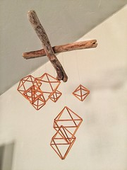 Mobile art (Pejasar) Tags: geometric angles shadows light metal driftwood wood copper art contrasts hanging mobile