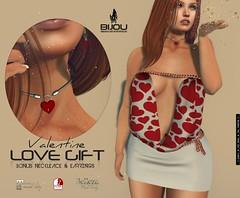 .bijou ~ KYARA DRESS GIFT (BijankRau | [ photograp'r model.]) Tags: secondlife fashion love free presale hearts red dress maitreya belleza slink valentine army