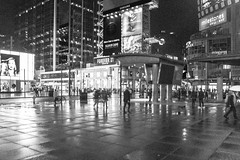 Night on The Squares (A Great Capture) Tags: bw action movement people person walking reflection reflections squares square agreatcapture agc wwwagreatcapturecom adjm ash2276 ashleylduffus ald mobilejay jamesmitchell toronto on ontario canada canadian photographer northamerica spring springtime 2016 city downtown lights urban night dark nighttime weather pattern