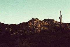 Mountaintography (Marc Rodriguez 24) Tags: rollei agfa digibase cr200 nikon f3 f3hp nikkor 50mm 14 5014 ais prime lens 35mm e6 color reversal slide film grain c41 cross process processed xpro experimental photography superstition mountains supes arizona az landscape desert saguaro cactus hieroglyphic trail nature sunrise light pastel