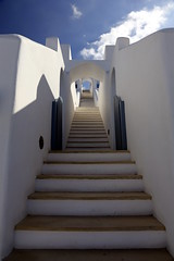 Escape route (pooly7) Tags: greece greek stairs staircase blue outdoor santorini sky clouds symetry geometry architecture travel travelling lens walls whitewash