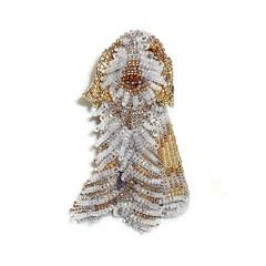 Beaded Orange Roan ITALIAN SPINONE keepsake dog pin pendant art jewelry (The Lone Beader) Tags: beadwork beadembroidery beading seedbeads dogs italianospinone dogjewelry handmade etsy amazon brooch pendant