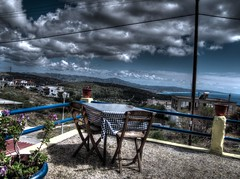20160506-152525LCAnd2moreCreative (Luc Coekaerts from Tessenderlo) Tags: cc0 creativecommons hdr 20160506152525lcand2morecreative hdrcreative red blue streetview cafe terrasse object table chair flowerpot bloempot landscape sea yellow multicolored colorful kleurrijk public nobody coeluc vak201605rodos vak rodos greece rhodes grc kritinia monólithos