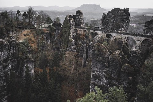 The Bastei is a popular tourist destination in the Saxon Switzerland. It offers spectacular views, many hiking trails start here and you can see the remains of an old medieval stronghold.