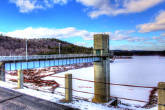 Long Walk To Nowhere. (Kris_wl) Tags: dam cold walkway bridge tower lake frozen winter forest fridged blue white cement concret ice icey outside outdoors sky manmade architecture engineering