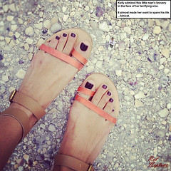 Bravery in the Face of Danger (Red Neptune) Tags: giantess gts feet sandals shrunkenman sm
