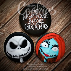 Nightmare Before Christmas Jack & Sally (cREEative_Cookies) Tags: creeatve cookies ree halloween hallows dia delos muertos candy skulls typography sugar art decorated cookie decorating party theme desserts holiday dessert zombie eyeball nightmare before christmas jack skellington sandy cupcakes spiders pumpkins jackolanterns leaves platter ghosts corn bats blood bloody cut finger ears butcher 3d
