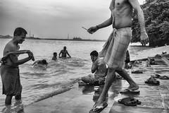 Ghats of Ganga (saptarshiriju) Tags: street city travel summer people bw india man k expression indian streetphotography blacknwhite kolkata ganga ghat howrah monochorome culcutta faceofindia