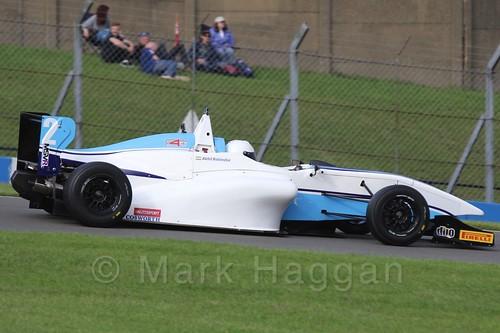Douglas Motorsport's Akhil Rabindra in BRDC F4 Race 3 at Donington Park, September 2015