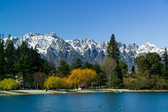 Queenstown and Remarkables (fate atc) Tags: new blue trees mountains landscape zealand nz promenade southisland centralotago queenstown picturesque foreshore lakewakatipu chocolatebox theremarkables sonya99
