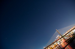 Post-Dusk, Pre-Light. (J. Lewis Nutter) Tags: water oregon docks river portland stars boats outdoors long exposure space bridges pdx pnw constellations