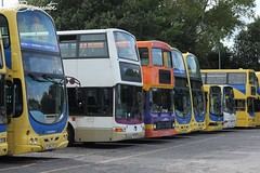 Lancashire United line-up (Bluke's Photography) Tags: bus 1 eclipse volvo nc united president lancashire depot wright alexander northern gemini counties rh palatine olympian renown plaxton i b10ble transdev b7tl