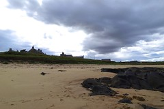 120. Then the sky darkened...... (GraynKirst) Tags: summer sky cloud beach weather rock clouds landscape coast scotland seaside sand rocks aberdeenshire cloudy shore greysky darkclouds rainclouds stcombs kirstyjarman