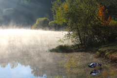 Fog in the lake (On Explore 10/21/2015) (die Augen) Tags: blue trees lake fall water grass fog sunrise canon reflections outdoors early bowie dock pond maryland explore automn rays sl1