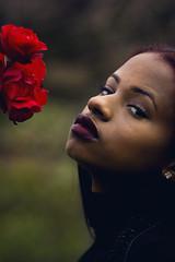 Rose ([Sharp]) Tags: light red portrait woman fall love girl beauty rose garden model gorgeous sharp lipstick gaze