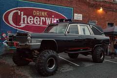 Drink Cheerwine (Poole-shooter Cindi) Tags: car nc downtown drink zombie saturday event vehicle salisbury hearse jackedup cheerwine zombiewalk rainisgone drinkcheerwine goodshocks