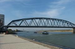 Railway bridge with cycle path (joeke pieters) Tags: holland netherlands nijmegen boot boat ship nederland waal gelderland schip snelbinder fietsbrug waalkade spoorwegbrug panasonicdmcfz150 1240880