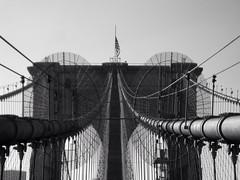 Brooklyn Bridge (wendel68) Tags: nyc bridge blackandwhite monochrome lines outside outdoor flags