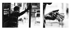 The Bus Conductor (arkamitralahiri) Tags: india kolkata calcutta westbengal streetphotography blackandwhite monochrome outdoor man sideface currency rupees hand diptych 35mm nikon d3100