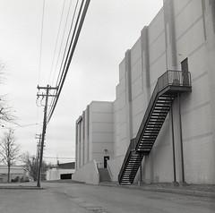 Abandoned Movie Theatre (matthew.vortex) Tags: movies theatre abandoned yashicamatem yashinon8035 ilford hp5 kodakd76 epsonv600 manualmode nometer nobatteries monochrome blackandwhite lexington kentucky 1967