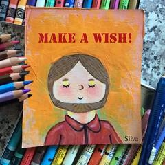 Make a wish! (waltersilvausa) Tags: inspirationalquotes inspirationalart makeawish man painting manpainting selfportrait mixedmedia hipster folkart