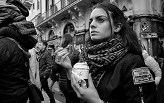 Serious ice cream. (Baz 120) Tags: candid candidstreet candidportrait city candidface candidphotography contrast street streetphoto streetcandid streetphotography streetphotograph streetportrait rome roma romepeople romestreets romecandid europe women monochrome monotone mono blackandwhite bw noiretblanc urban voightlander12mmasph life leicam8 leica primelens portrait people unposed italy italia girl grittystreetphotography flashstreetphotography flash faces decisivemoment strangers