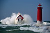 Christmas Storm in Grand Haven 2 (12 20 2016) (PhotoDocGVSU) Tags: storm gale winter waves lakemichigan grandhavenmi greatlakes lighthouse ice canon5d3 sigma50500os bigma