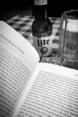 Beer with Kerouac and Robert Frank (CarusoPhoto) Tags: book beer john caruso carusophoto kerouac words text bottle glass mug drink iphone 7 plus banal mundane ordinary everyday robert frank americans