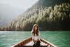 (Jeღ) Tags: lake dolomities sun water wood green nature braies girl brunette portrait womanportrait